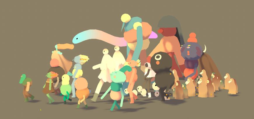 IMAGE: Screenshot -- characters walking in group, brown bg
