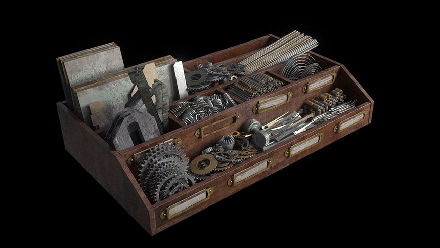 IMAGE: Still of props – various tools and small items
