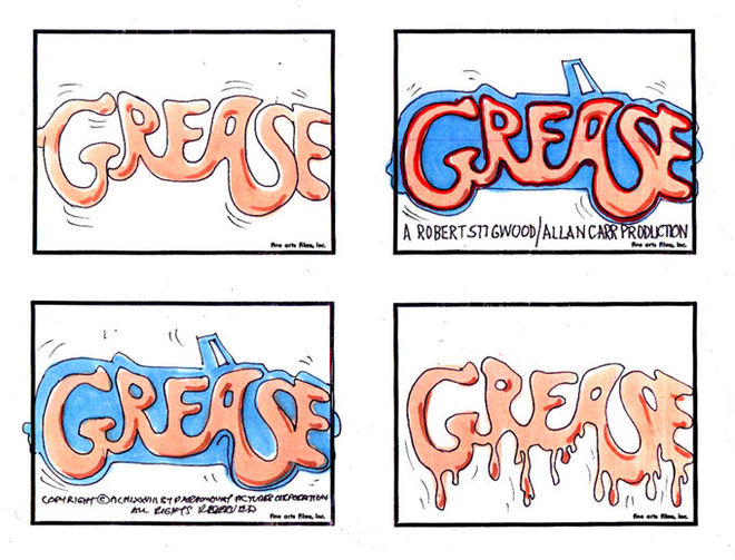 IMAGE: Grease title card storyboards by John Wilson
