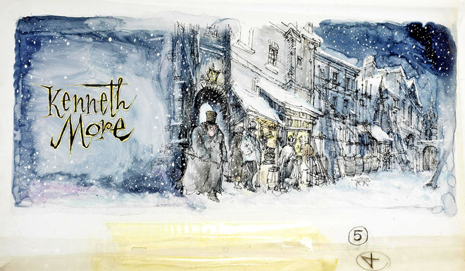 IMAGE: Kenneth More credit, cold Scrooge with snowflakes