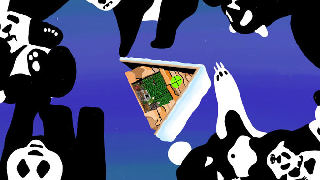 IMAGE: Still – A-frame floating with pandas
