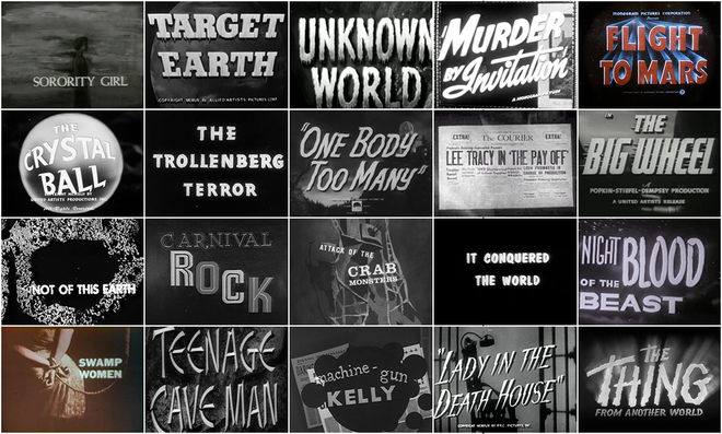 IMAGE: They Came From Within: B-Movie Title Design of the 1940s and 1950s feature contact sheet