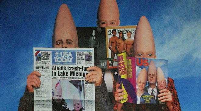 IMAGE: Coneheads with magazines